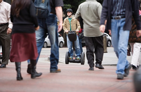 Male commuter on a Segway