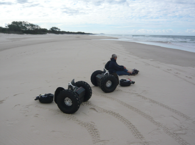 Having fun with a Segway on the beach